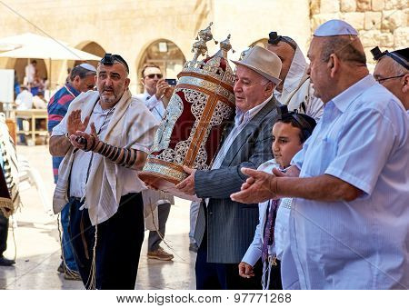 Celebrating Bar Mitzvah At The Western Wall In Jerusalem