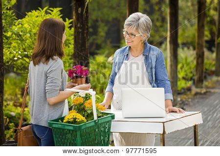 Mature women working in a flower shop and talking with a customer