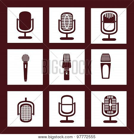 Collection Of Microphone Icons