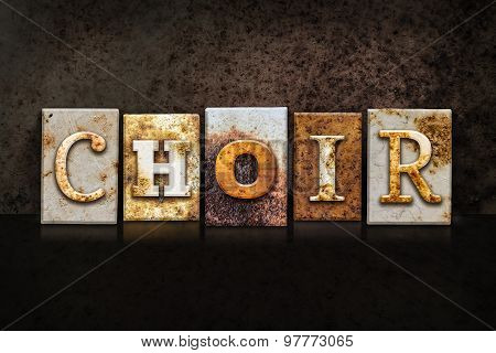 Choir Letterpress Concept On Dark Background