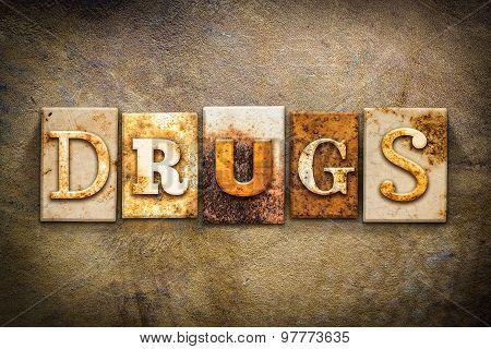Drugs Concept Letterpress Leather Theme