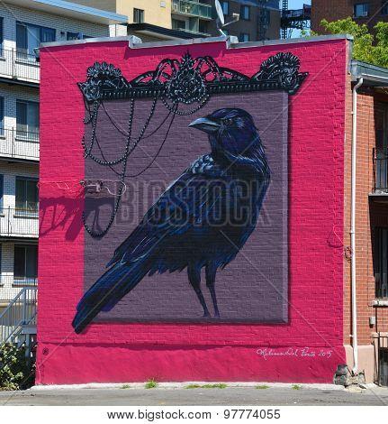 Street art Montreal crow