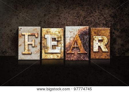 Fear Letterpress Concept On Dark Background