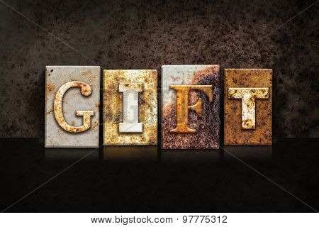 Gift Letterpress Concept On Dark Background
