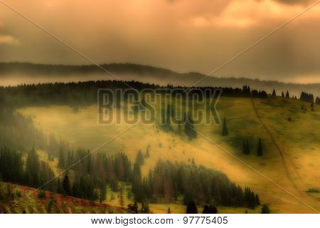 Mountains Cloudy Rain Fog Morning Light Landscape Panorama