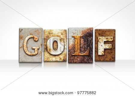 Golf Letterpress Concept Isolated On White