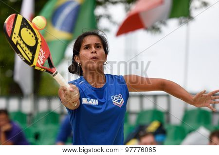 MOSCOW, RUSSIA - JULY 17, 2015: Lady Correa of Venezuela in the quarterfinal match of ITF Beach Tennis World Team Championship against Spain. Spain won the match 2-1