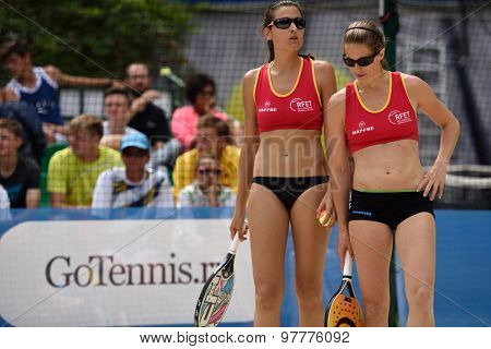 MOSCOW, RUSSIA - JULY 17, 2015: Pilar Escandell (left) and Rosa Sitja of Spain in the quarterfinal match of ITF Beach Tennis World Team Championship against Venezuela. Spain won the match 2-1