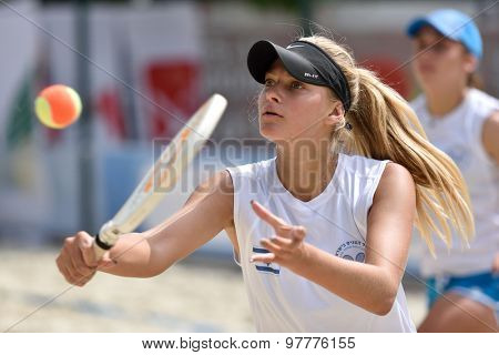 MOSCOW, RUSSIA - JULY 15, 2015: Alona Alekhin (center) and Alina Menukhin of Israel in the match of ITF Beach Tennis World Team Championship against France. France won the match 3-0