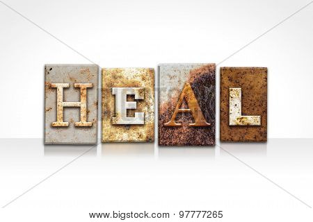 Heal Letterpress Concept Isolated On White