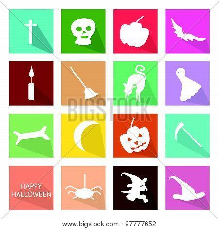 Illustration Set Of 16 Happy Halloween Icons