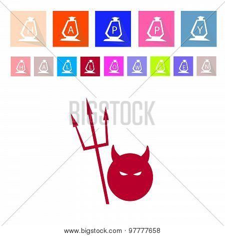 Assorted Of 16 Happy Halloween Flat Icons