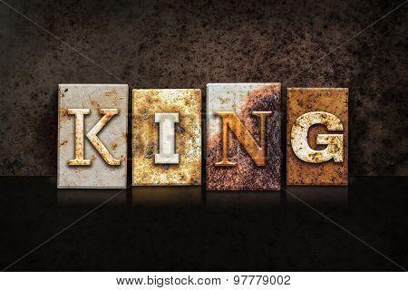 King Letterpress Concept On Dark Background