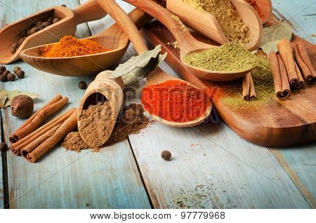 Powder Spices On Spoons
