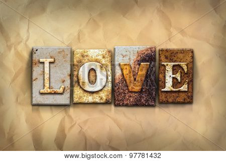 Love Concept Rusted Metal Type