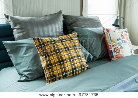 Bed And Pillows In Bedroom
