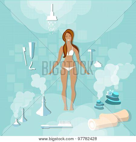 Woman in bathroom, girl hygiene, underwear, vector