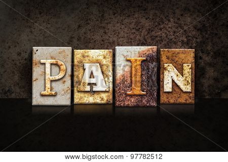 Pain Letterpress Concept On Dark Background