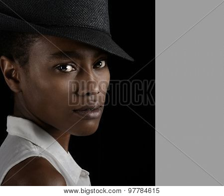Beautiful Image of a afro American Woman on Black