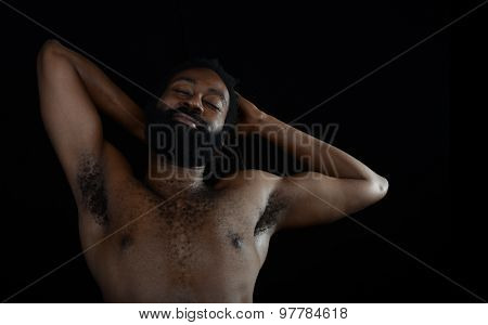 Nice Image Of a afro American man relaxing