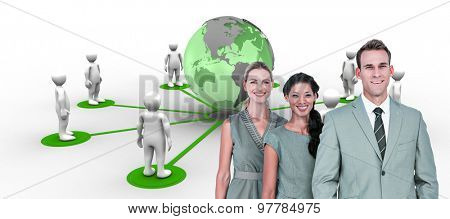 Happy business team smiling at camera against 3d men connected with earth