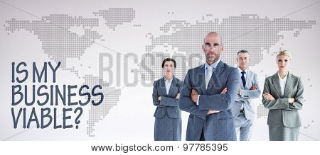 Business colleagues smiling at camera against orange world map on white background