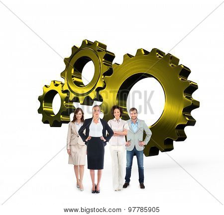 Business team looking at camera against metal cog and wheel connecting