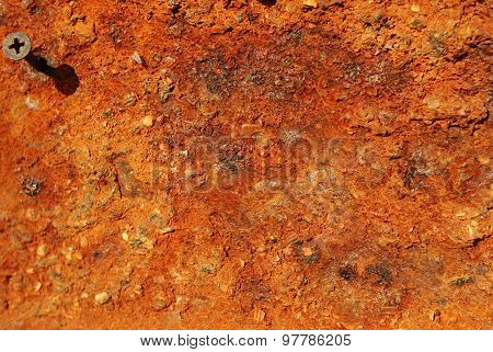 Rusty metal background with screw
