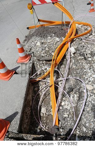 Road Construction With Pipes For Laying Optical Fiber