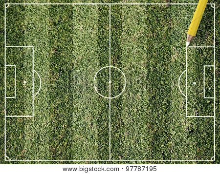 Footbal green field and pencil drawing lines