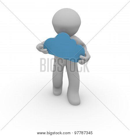 3D Man With A Cloud Shape