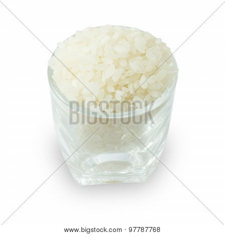Cup Of Raw Japanese Rice On White Background