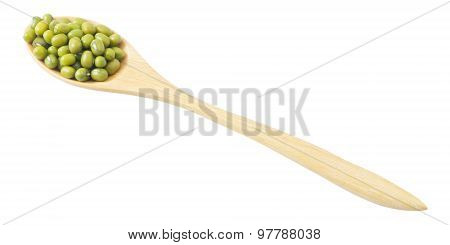 Mung Beans In Wooden Spoon On A White Background