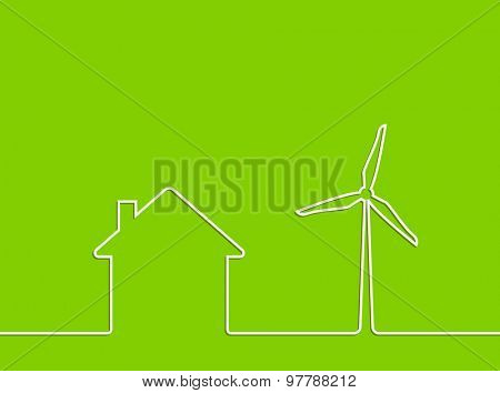 wind turbine energy for house concept abstract background