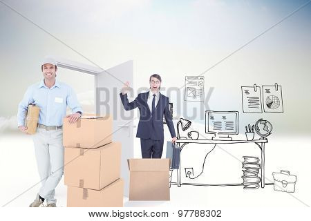 Handsome delivery man leaning on stacked cardboard boxes against doodle office in clouds with door