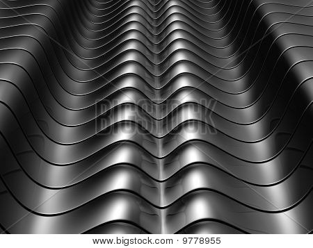 Abstract Silver Aluminium Curve Stripe Background