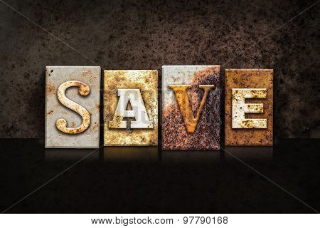 Save Letterpress Concept On Dark Background