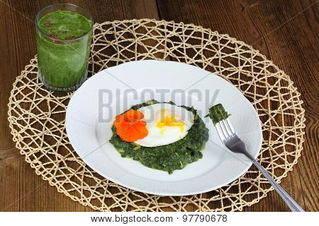 Braised Spinach,  Poached Egg And Green Smoothie