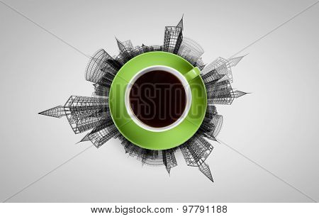 Top view of cup of coffee on white background