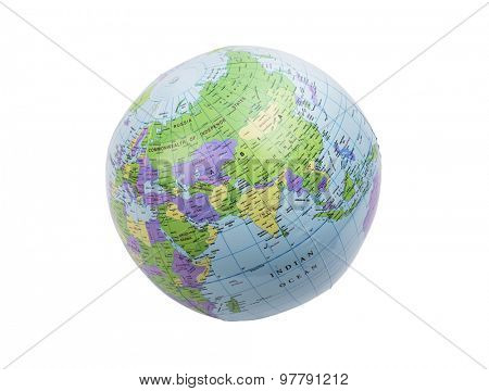 Inflated plastic earth toy showing India