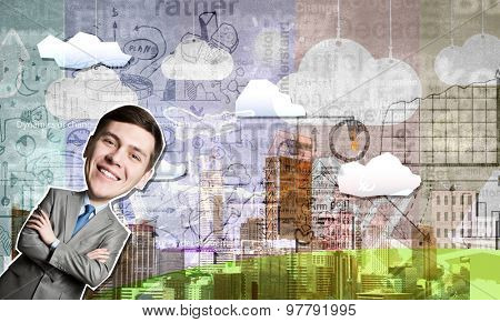 Young smiling businessman at composite business background