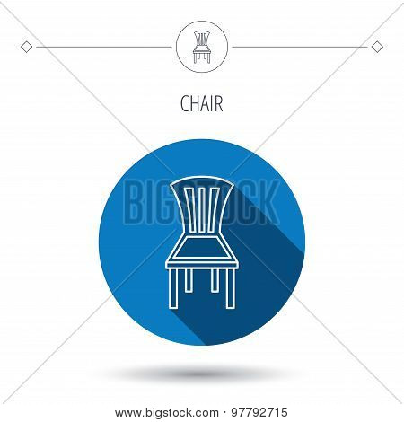 Chair icon. Seat furniture sign.