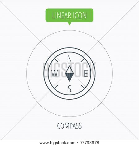 Compass icon. Geographical orientation sign.