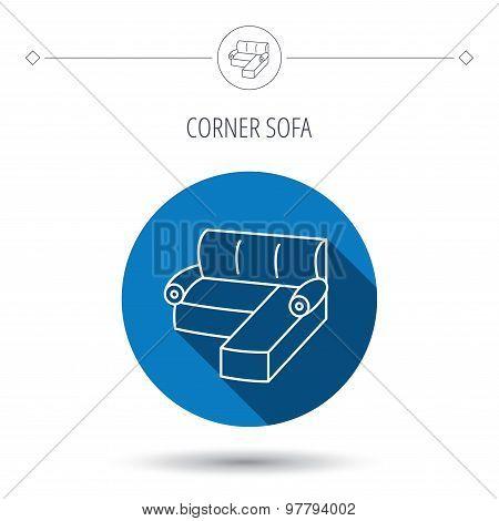 Corner sofa icon. Comfortable couch sign.