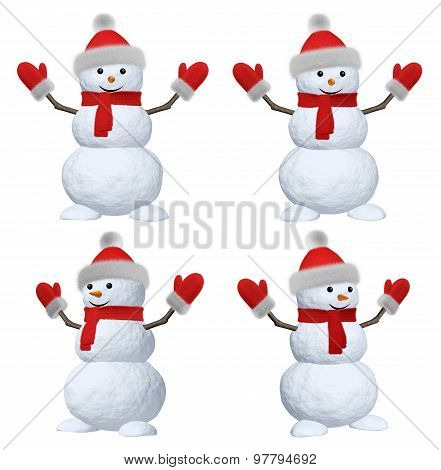 Snowman With Scarf, Hat And Scarf On White Set