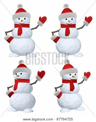 Snowman With Scarf On White Pointing To Something Set