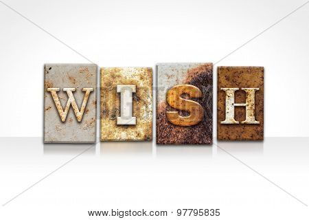 Wish Letterpress Concept Isolated On White
