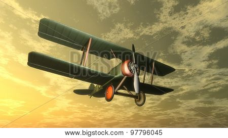 Biplane by sunset - 3D render
