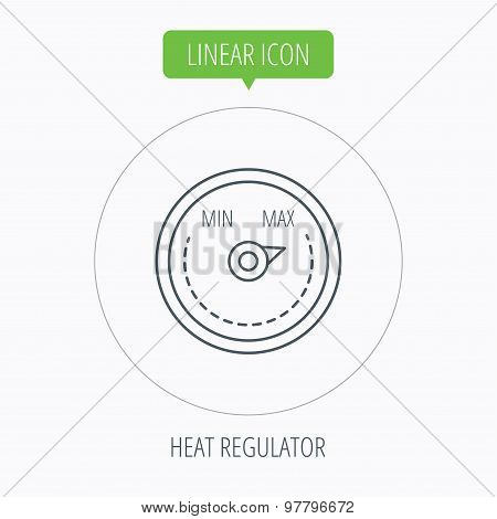 Heat regulator icon. Radiator thermometer sign.