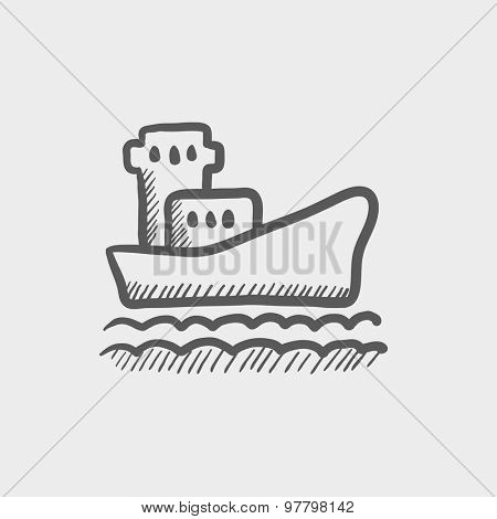 Cargo container ship sketch icon for web and mobile. Hand drawn vector dark grey icon on light grey background.